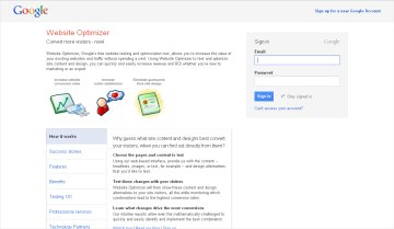 google website optimizer screenshot